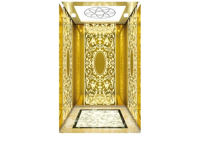 Passenger Elevator with Gold Decoration